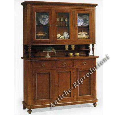 Unbekannt Möbel Buffet, Buffetschrank, Küchenbuffet, 3 Türen cm 158x47, h 103, oben Teil cm 157x43, h 110