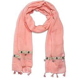 styleBREAKER unifarbener Ethno Style Schal mit Blümchen Borte, Quasten und Medaillon Anhängern, Damen 01016104, Farbe:Koralle
