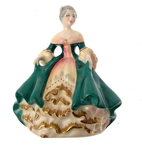 Figur-hn3244-Southern Belle-Grün Kleid mit Gold Trim und Glanz, Finish-gc47 ()