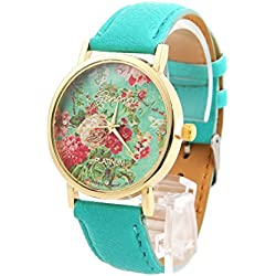 CHIC*MALL New Fashion Leather Geneva Rose Flower Watch For Women Dress Quartz Watches Mint Green