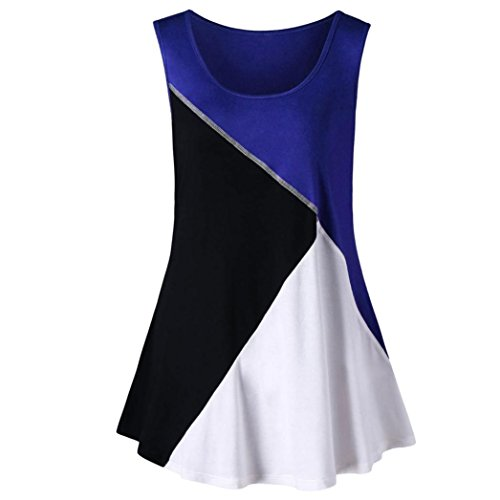 Overdose Mode Sommer Damen Casual Ärmellos Plus Größe Farbe Block Tank Tops Weste Shirt T Shirt Bluse Oberteile(Blue,3XL)