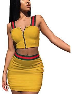 Mujer Verano Falda y Top Camisola Camisa Falda Conjunto, Camiseta Sin Mangas Tops