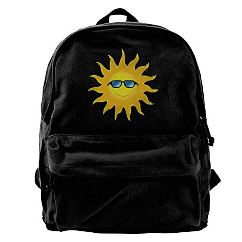 Rucksäcke, Daypacks,Taschen, Classic Canvas Backpack Sun with Glasses Unique Print Style,Fits 14 Inch Laptop,Durable,Black