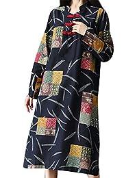 Yvelands Vestido de algodón para Mujer Vestido de Gasa Largo con Estampado de Manga Larga Kaftan, ¡Ofertas de liquidación!