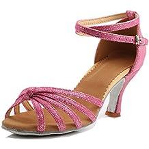 KMM - Zapatillas de Piel para mujer multicolor, color Rojo, talla 41