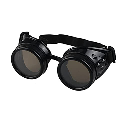 Ultra Black with Brown Lenses Premium Top Quality Steampunk Goggles Glasses Cyber Glasses Victorian Punk Style Welding Cosplay Gothic Style Goth Rustic Vintage Round Rave Novelty Cosplay