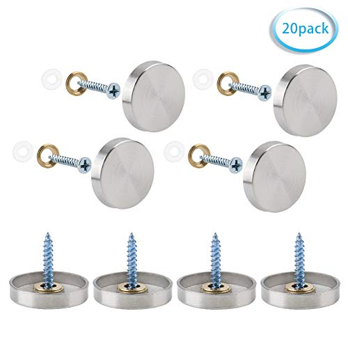 INCREWAY 20 Sätze Edelstahl dekorativ Nägel, 25mm Zylindrisch Spiegel Schrauben Spiegelnagel mit Dekorativ Kappen