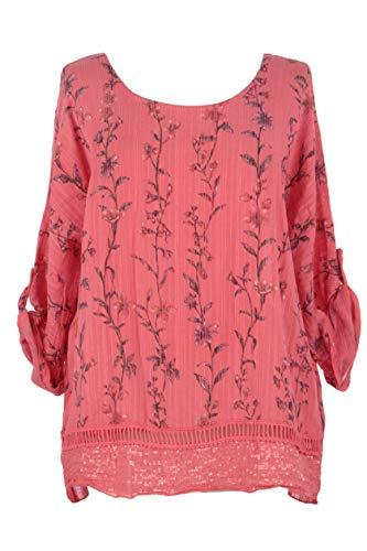 TEXTURE Ladies Womens Italian Lagenlook Floral Print Sequin Crochet Trim Linen Cotton Top Blouse One Size (Coral, One Size) - Crochet Trim Blouse