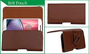 Jkobi Exclusive Belt Case Mobile Leather Carry Pouch Holder Cover With Belt Clip Compatible For Samsung Galaxy Trend Lite -Brown