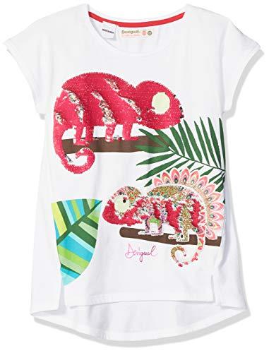 Animal-print Knit (Desigual Mädchen Girl Knit Short Sleeve (TS_Ontario) T-Shirt, Weiß (White 1000), 116 (Herstellergröße: 5/6))