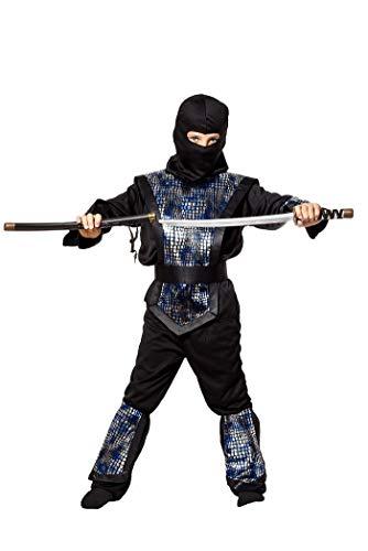 Ninja Kostüm Kinder blau-schwarz-silber - komplettes 6-teiliges Ninja Kostüm für Jungen in schwarz silber blau (110/116)