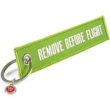 """Llavero, diseño con texto en inglés """"Remove Before Flight"""", verde, . 13,5 x 3 cm"""