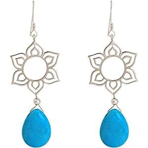 Gemshine - Handmade - Ohrringe - 925 Silber - Lotus Blume - Mandala - Türkis - Tropfen - Blau - YOGA - 4,5 cm