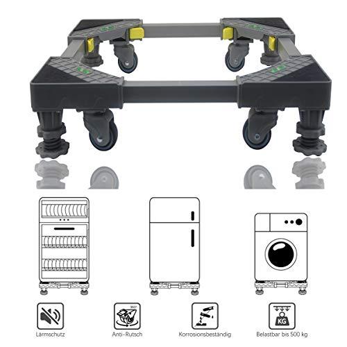 Allesin Waschmaschine Roller Trolley einstellbare Multifunktionsbeweglicher Für Trockner, Kühl Verstellbarer Sockel, Bienenwaben-Pleuel mit 4x2 drehbaren Gummi-Rädern und 4 stabilen Füßen -