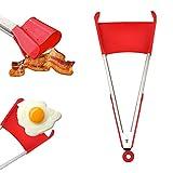 Manfore 2 in 1 Zange und Spatel/Servierzange / Silikon Küchenzange, Antihaftbeschichtet, HitzebestäNdig, Perfekt für Kochen, Servieren, Grill, Buffet, Salat