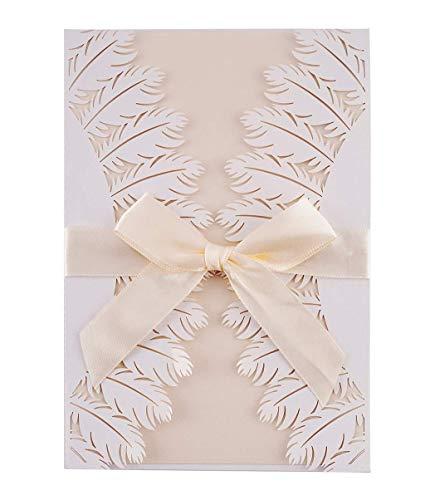 LONGBLE Hochzeit EinladungsKarten Glückwunsch Einladung Karten, 20 Stück Elegante Blume Spitze 4 in 1 [ Hohle Hülse+Leere Karte+Umschlag+Bowknot ] Hochzeitskarten - auch Für Geburtstag/Taufe