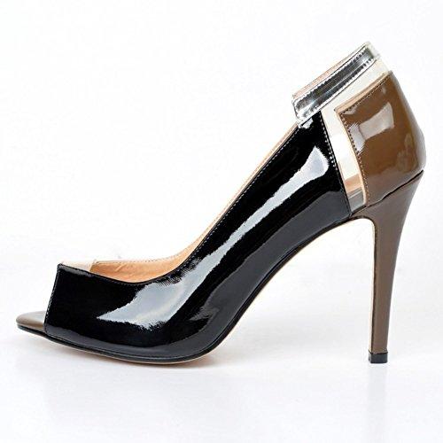 Kolnoo Damen Faschion 11cm Peep Toe Pumps Für Hochzeit Kleid Stiletto Beleg auf Schuhen Black