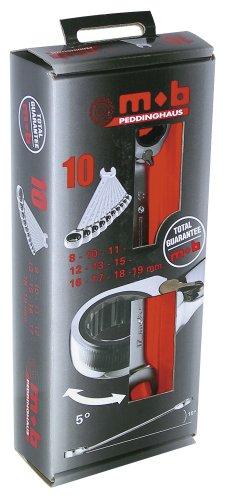MOB Outillage 9002000401 Jeu de 10 Clés mixtes à cliquet 8 à 19 mm