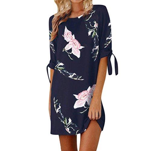 Beikoard vestito donna elegante abbigliamento vestito donna vestito da partito casual da mini abito da cocktail con maniche bowknot con stampa floreale delle donne (blu scuro, m)