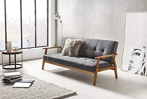 SalesFever Schlafsofa im Scandinavian Design, mit Verstellbarer Rückenlehne Lien Grau