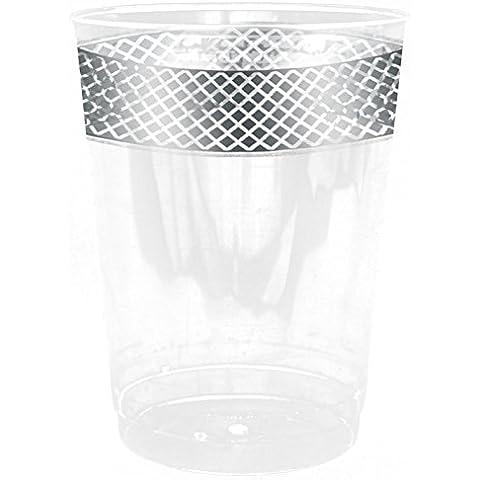 Decorline-Crystal Diamond Collection – Stoviglie plastica Deluxe-Party--usa e getta -color bianco con bordo argento- plastica rigida - utilizzare monouso (Piatti fondo 150ml)