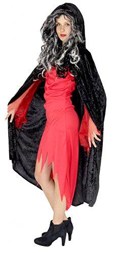 Foxxeo schwarzer Premium Vampir Umhang für Erwachsene Vampirumhang Kostüm Damen und Herren Größe (Samt Vampir Erwachsene Kostüme Damen)