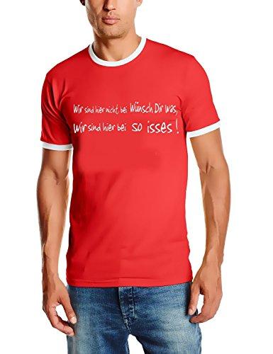 Coole-Fun-T-Shirts Herren WIR SIND Hier Nicht BEI WÜNSCH DIR was. Ringer T-Shirt rot, S -