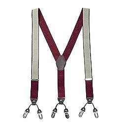 The Tie Hub Pin Dot Maroon Y Back Suspender