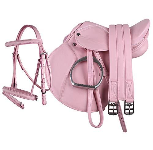 QHP Sattel Ponysattel Sattelset Steigbügel Riemen Gurt Trense ARBO-INOX® (rosa)