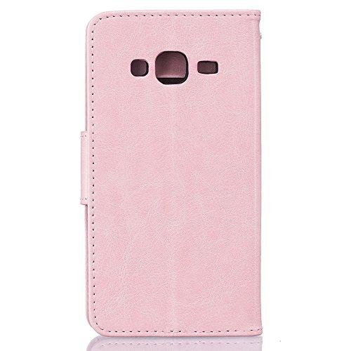 """Samsung Galaxy J3 ( 2016 ) Schutzhülle Leder Hülle, Alfort 3 in 1 Flip Fashion Design Dual Use Falten Premium PU Leder Flip Mappen Kasten Abdeckung für Samsung Galaxy J3 ( 2016 ) 5.0"""" ( Rosa ) + Nette Rosa"""