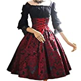 Damen Mittelalter 3/4 Ärmel Kleid - Retro Renaissance Viktorianisch Kostüm Midi Kleider mit Ausgestellte Ärmel Mittelalterkleid Prinzessin Kostüm für Halloween Party Cosplay Fünf Farben