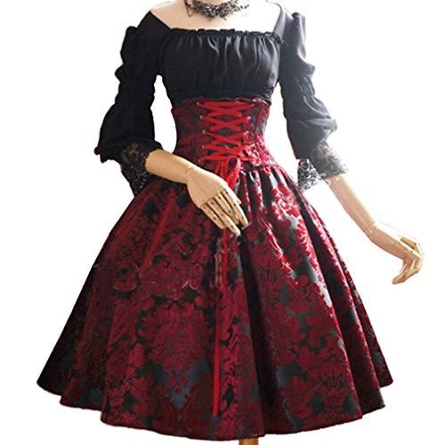 4 Ärmel Kleid - Retro Renaissance Viktorianisch Kostüm Midi Kleider mit Ausgestellte Ärmel Mittelalterkleid Prinzessin Kostüm für Halloween Party Cosplay Fünf Farben ()