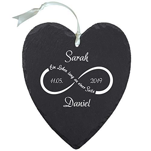 Schieferherz Unendlichkeit Weiß - Schiefer Herz mit Personalisierung - personalisiert mit Namen und Datum - Hochzeitsgeschenke, romantische Geschenke zum Hochzeitstag, Valentinstag, Jahrestag