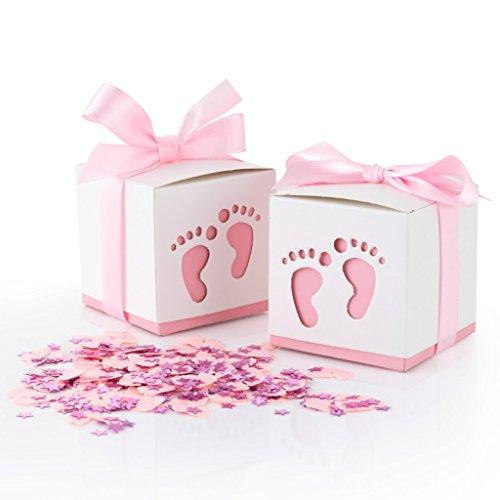 QILICZ 50 Stk. Gastgeschenke Baby Taufe Süßigkeit Flaschen Candy Geschenk Box Baby Shower Babydusche Geschenk Box + Konfetti Füßchen Tisch Dekoration für Hochzeit Taufe Geburtstag Pralinenschachtel pink