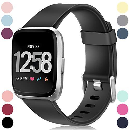 HUMENN Armband Für Fitbit Versa/Fitbit Versa 2, Classic Weiches TPU Sports Ersetzerband Verstellbares Zubehör Uhrenarmband für Fitbit Versa/Versa Lite Edition/Versa 2, Groß #1 Schwarz