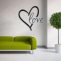 Idea Regalo - Extsud Adesivo Murales Carta da Parete, DIY Scritta Love Cuore Wall Stickers per San Valentino, Decorazione da Muro per Casa Hotel Camera da Letto Negozio