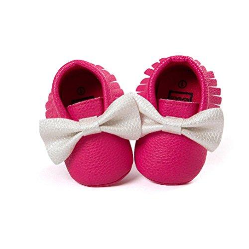 Sapatos De Bebê Hunpta, Meninas, Meninos Walker Borlas Sapatos Bebê Da Criança Bowknot Sapatos Macios Sola Das Sapatilhas Sapatos Casuais (12, Vermelho) Rosa Quente