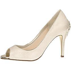 Rainbow Club Brautschuhe Natala | Pumps Stiletto Peep toe Champagner | High Heels | Gr 37 EU (4 UK)