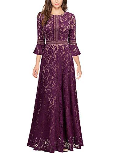Miusol Damen Trompete Armel Spitzen Hochzeit Kleid Cocktail Maxi Abendkleid Magenta XXL
