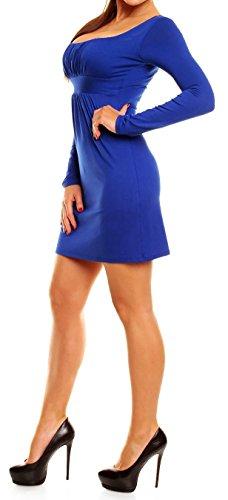 Glamour Empire. Donna. Mini vestito con pieghe scollo quadrato manica lunga. 931 Blu Royal