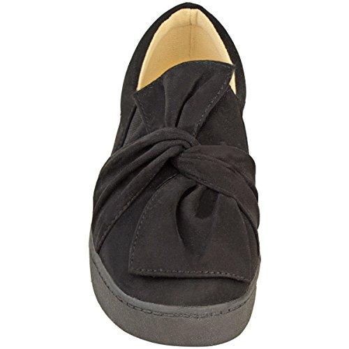 Nuovo Da Donna Scarpe Sportive Camoscio Sintetico Slip-on Fiocco Piatto Scarpe Sportive Misura Scarpe Basse nero camoscio sintetico/nero suola