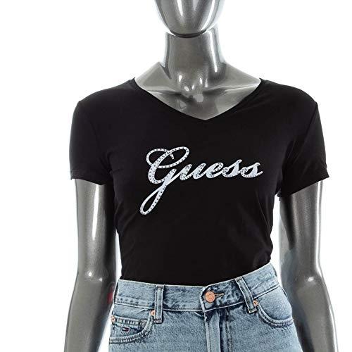 Guess Damen Ss Vn Studs Tee T-Shirt, Schwarz (Jet Black A996 Jblk), Large