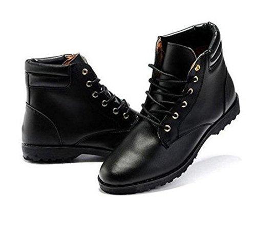 Men Fashion Solid Korean Style PU Riding Boots Black