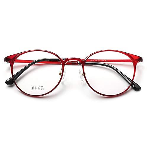VEVESMUNDO Damen Herren Brillengestelle Brillenfassung Fakebrillen Streberbrille Nerdbrille Pantobrille Retro Rund Vintage TR90 Große Brillen ohne sehstärke mit Brillenetui (Rot)