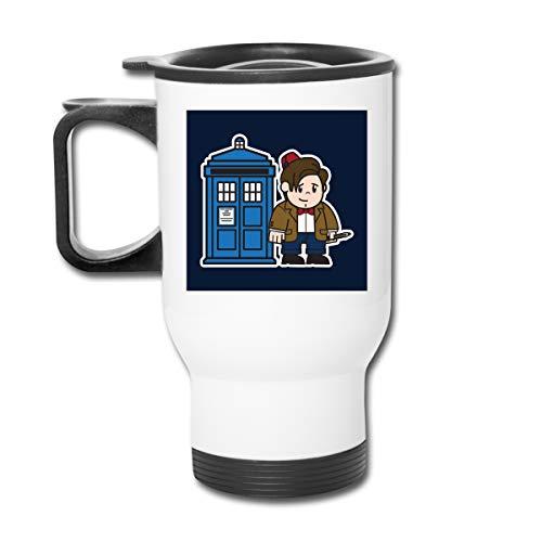 Doctor Who 11th Matt Smith Tardis Doppelwandige Vakuum-Kaffeebecher mit spritzwassergeschütztem Deckel für heiße und kalte Getränke