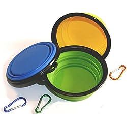 geekbox® 3er Pack (je 340ml) zusammenklappbar Fressnapf, lebensmittelechtes Silikon BPA-frei, faltbar erweiterbar Cup Gericht für Haustier Katze Lebensmittel Wasser Füttern tragbar Reise Schüssel gratis Karabiner Blau Grün Gelb