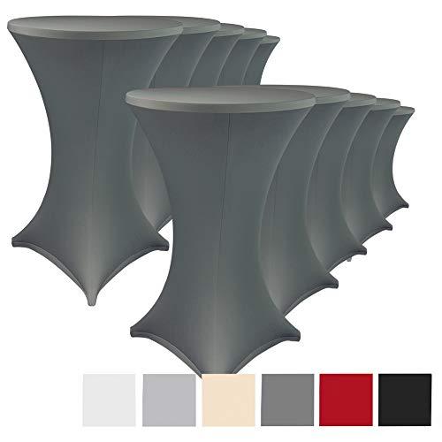 Stehtischhussen Stretch Elastique 10er Set - elastische Premium Stretchhusse für alle gängigen Bistrotische und Stehtische - dehnbarer Tisch-Überzug mit ÖkoTex100, Farbe:Anthrazit, Größe:Ø 80-85 cm