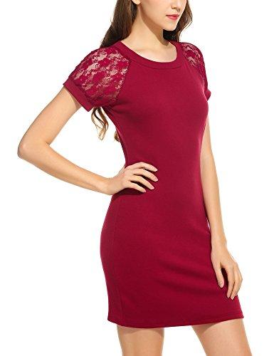 ace307678b0 Trudge Damen Elegant Etuikleid Minikleider Bleistiftkleid Shirtkleid  Kurzarm Rundhals Kleid mit Spitzen
