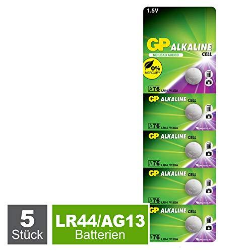 GP Extra Knopfzellen LR44 Alkaline, Batterien A76 / AG13, 1,5V (Spannung 1,5 Volt) 5 Stück Knopfbatterien quecksilberfrei (einzeln entnehmbar)