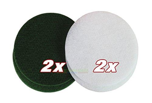 """HPS® SET - Overmat Pad Set je 2 Stück weiß und grün, 10 mm dick, Ø 305 mm - 12"""", 4-er Pack, Pad weiß und grün. zb für Floorboy XL-300. Optimal zum nachölen, ölen, und auspolieren von geölten Parkett"""